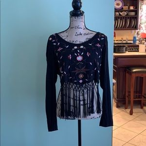 Floral crop top with fringes, never worn